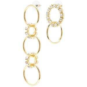 Joomi Lim Swarovski pearl mismatched interlocking hoop drop earrings