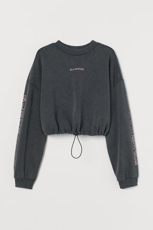 Short Printed Sweatshirt - Black