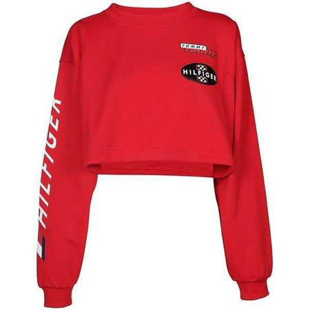 Red Racing Crop Sweatshirt by Tommy Hilfiger