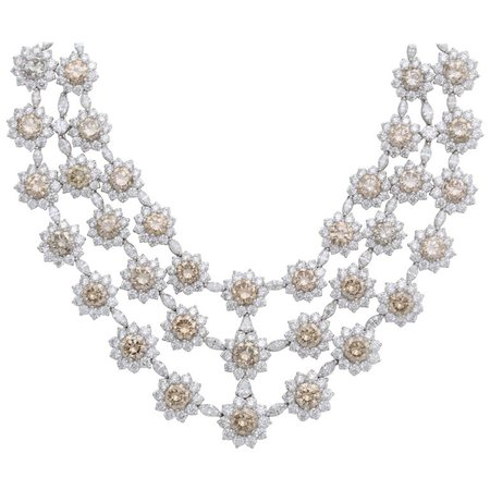 White Gold Diamond Bib Necklace For Sale at 1stdibs