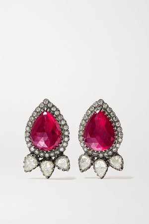 Gold 18-karat gold, sterling silver, ruby and diamond earrings | Amrapali | NET-A-PORTER