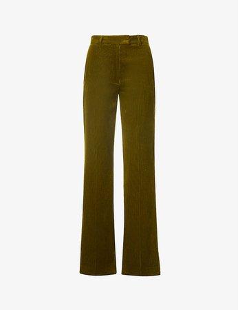 THE KOOPLES - High-rise, straight leg cotton-corduroy trousers | Selfridges.com