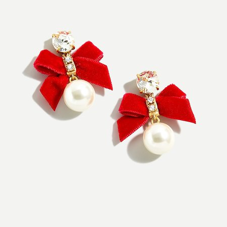 J.Crew: Festive Bow Pearl Earrings For Women