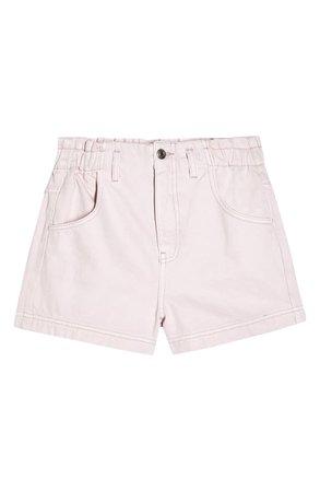 Topshop Paperbag Waist Shorts pink