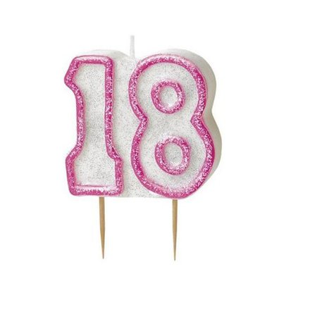 18 birthday candle pink png filler