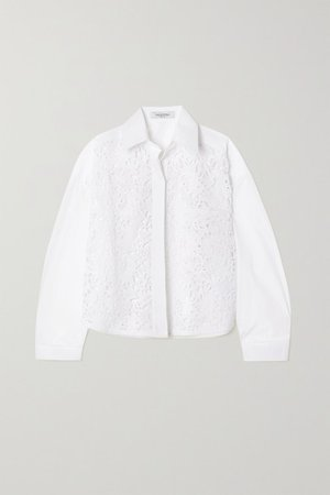 Cotton-blend Poplin And Guipure Lace Shirt - White