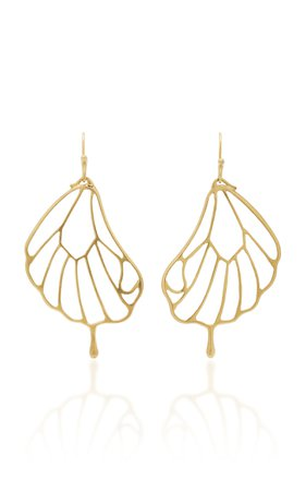 18K Gold Pampion Wing Earrings by Annette Ferdinandsen | Moda Operandi