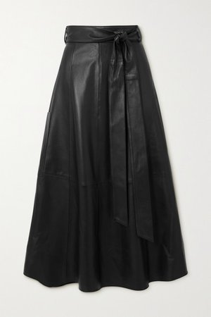 Belted Leather Wrap Midi Skirt - Black