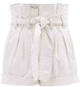 X The Attico Paperbag Waist Denim Shorts - Womens - White