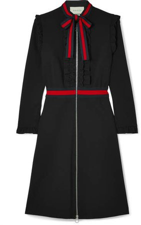 Ruffled Grosgrain-trimmed Stretch-cady Dress - Black