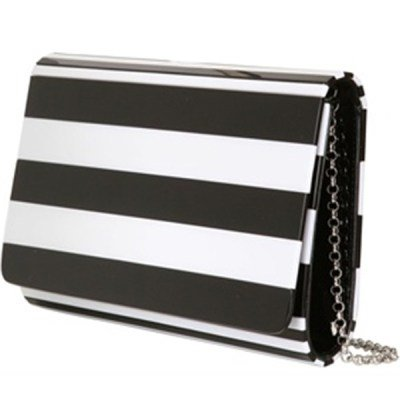 Lulu Guinness Black + White Striped Clutch Bag. FREE GLOBAL SHIPPINGCurated Cool