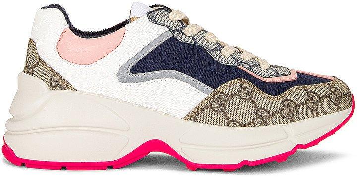 Rhython GG Sneakers in Beige Ebony & Blue | FWRD
