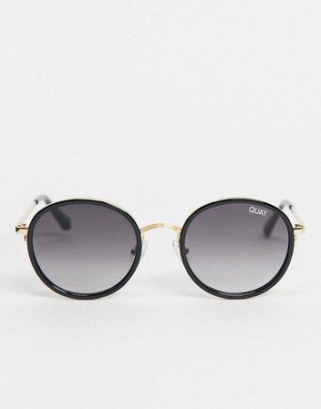 Quay Firefly Mini womens round sunglasses in black | ASOS