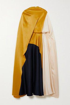 Andromeda Cape-effect Color-block Silk-satin Midi Dress - Gold