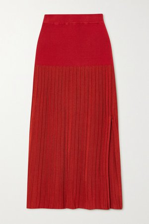 Dean Pleated Stretch-knit Midi Skirt - Red