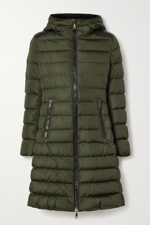 Talev Hooded Faux Leather-trimmed Quilted Shell Down Jacket - Army green