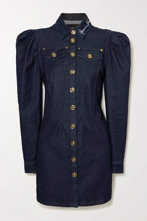 Embroidered Denim Mini Dress - Indigo