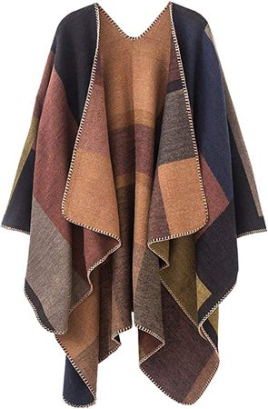Women Plaid shawls and wraps, Winter Poncho Cape, Soft Cashmere Cloak, Oversized Long Cardigan Sweaters(Khaki) at Amazon Women's Clothing store