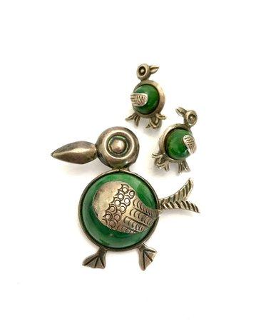 Taxco Sterling Silver Bird Demi Brooch & Earrings Set Green | Etsy