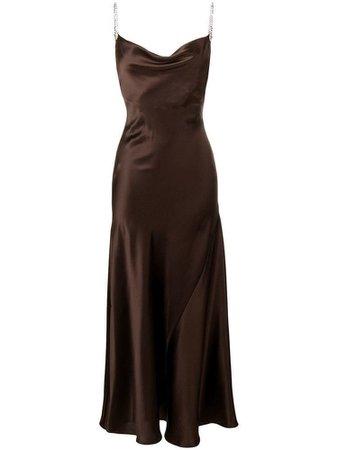 dark brown silk dress