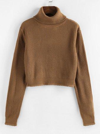 [32% OFF] 2020 ZAFUL Turtleneck Scalloped Hem Crop Sweater In COFFEE | ZAFUL