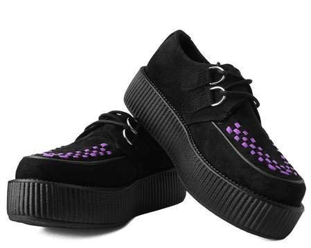 Black Faux Suede Purple Interlace Vegan Viva Mondo Creeper Shoe