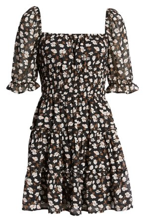Row A Ruched Waist Tiered Minidress | Nordstrom