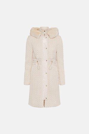 Long Quilted Faux Fur Trimmed Hood Coat | Karen Millen