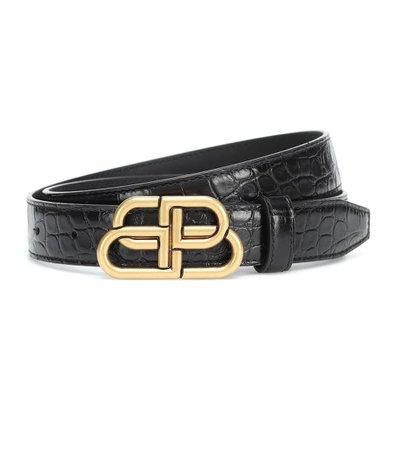 Bb Croc-Effect Leather Belt | Balenciaga - Mytheresa