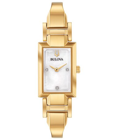 Bulova Women's Diamond-Accent Gold-Tone Stainless Steel Bangle Bracelet Watch
