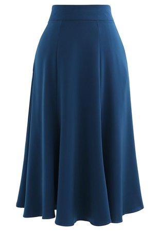 Satin A-Line Midi Skirt in Indigo - Retro, Indie and Unique Fashion