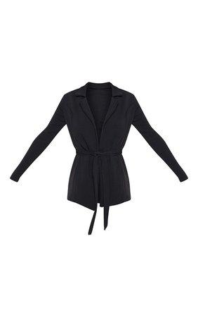 Black Belted Blazer   Coats_Jackets   PrettyLittleThing