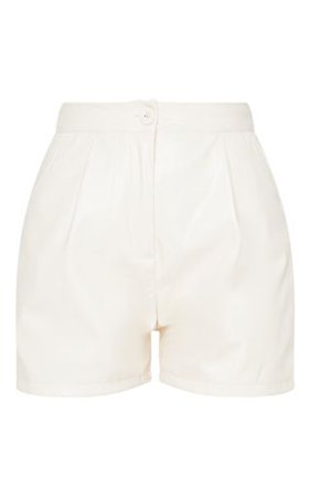 Cream Faux Leather Tailored Shorts   Shorts   PrettyLittleThing