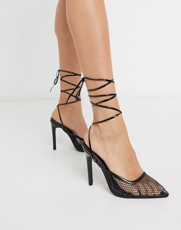 Public Desire Fiesty mesh ankle tie heeled shoe in black | ASOS