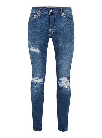 Topman Indigo Ripped Stretch Skinny Jeans