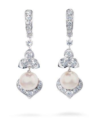 David Morris 18kt white gold Trillium Akoya pearl & white diamond earrings silver & white 09061059 - Farfetch