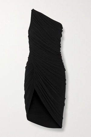 Black Diana one-shoulder ruched stretch-jersey mini dress | Norma Kamali | NET-A-PORTER