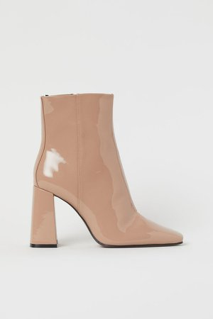 Patent Ankle Boots - Beige