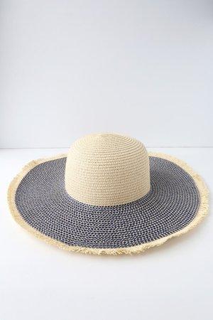 Cute Blue and Beige Hat - Floppy Straw Hat - Sun Hat