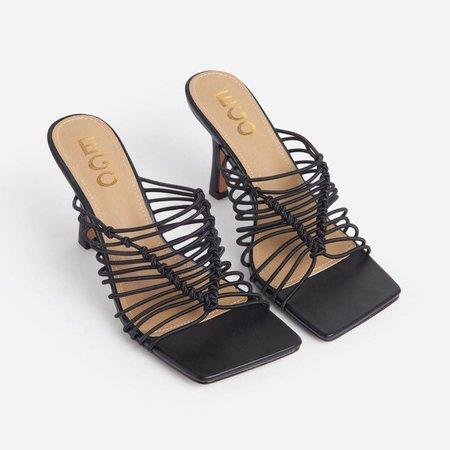 Del-Mar Strappy Square Peep Toe Kitten Heel Mule In Black Faux Leather   EGO