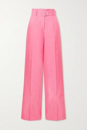 Belted Tencel And Linen-blend Wide-leg Pants - Pink