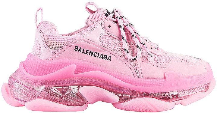 Triple S Clear Sole Sneakers in Pink | FWRD