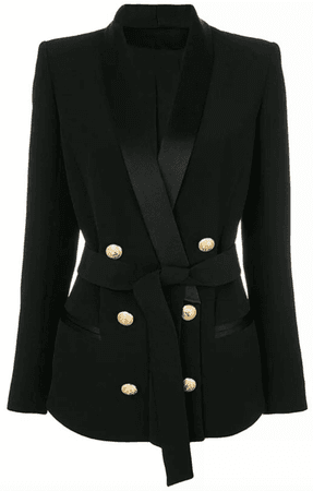 Belted Double Breasted Gold Button Blazer (Available in Black & White) – Socialitte