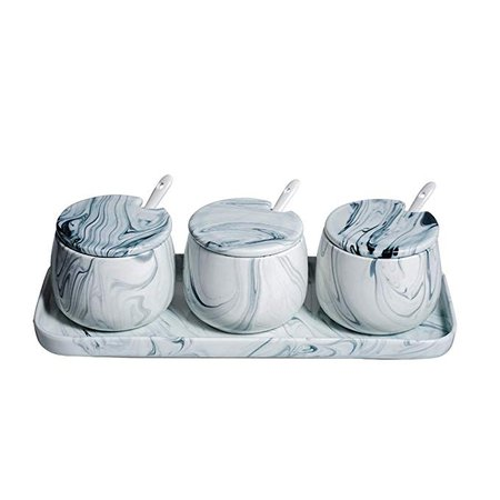 LIONWEI LIONWELI Sugar Bowl, Ceramic Black White Marble Sugar Bowl with Lid and Spoon for Home and Kitchen: Amazon.ca: Home & Kitchen
