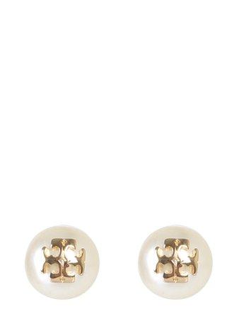 Tory Burch Pearl Stud Crystal Earrings