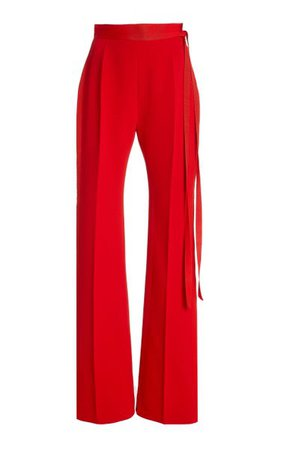 David Belted Crepe High-Rise Bootcut Trousers By Unttld | Moda Operandi