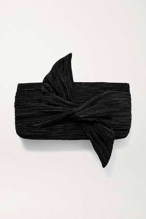 Banu Bow-embellished Plisse-satin Clutch - Black