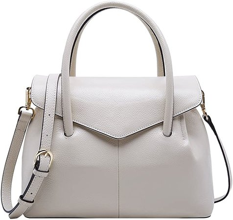 Amazon.com: BOYATU Real Leather Satchel Handbag for Women Top Handle Tote Shoulder Bag Beige: Clothing