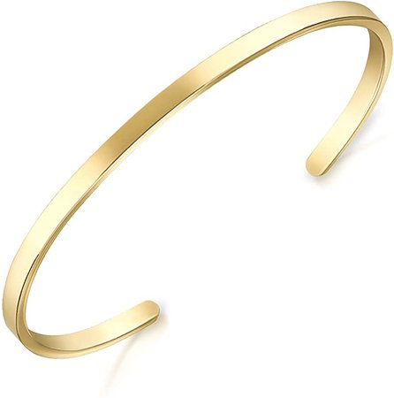 Amazon.com: Lolalet Thin Open Cuff Bracelet, 18K Gold Plated Couples Oval Love Bracelets, Plain Polished Finish Open Cuff Bangle Jewelry Gift for Men Women -Gold: Jewelry