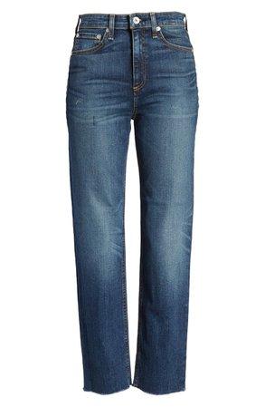 rag & bone Nina High Waist Raw Hem Straight Leg Jeans (Atlantic) | Nordstrom
